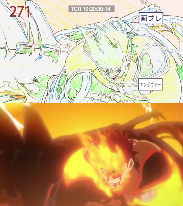 ボンズ手描きアニメの魅力!『僕のヒーローアカデミア』貴重な線撮&完成版の比較映像が解禁の画像004